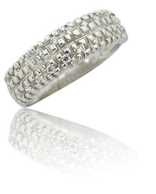 Stříbrný prsten se zirkony bílé barvy-VR 27