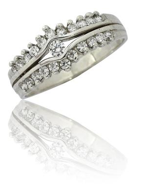 Stříbrný prsten se zirkony bílé barvy-VR 28