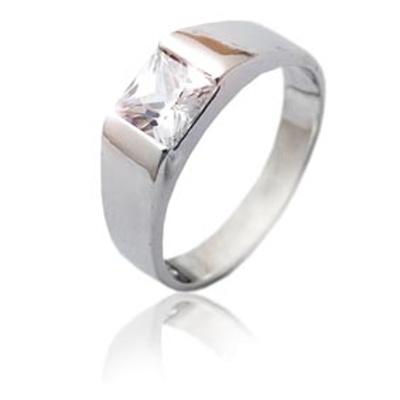 Stříbrný prsten se zirkonem bílé barvy-VR 73