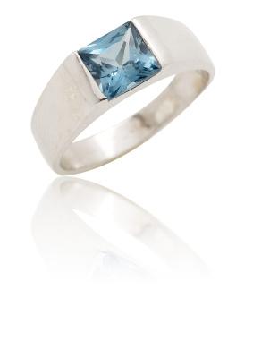 Stříbrný prsten se zirkonem modré barvy-VR 73