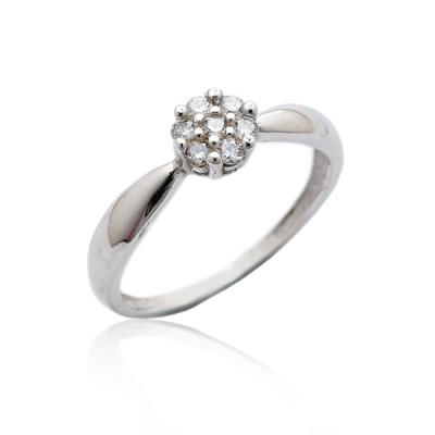 Stříbrný prsten se zirkony bílé barvy-VR 75