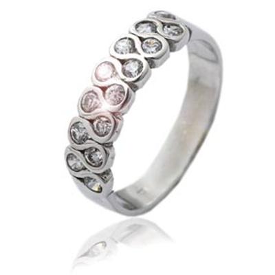 Stříbrný prsten se zirkony bílé barvy-VR 83