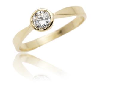 Zlatý prsten, žluté zlato se zirkonem - VR 87