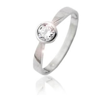 Zlatý prsten, bílé zlato se zirkonem - VR 87