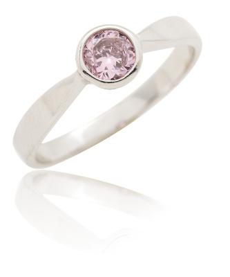 Stříbrný prsten se zirkonem růžové barvy-VR 87