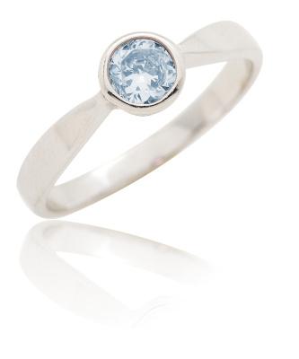 Stříbrný prsten se zirkonen modré barvy-VR 87