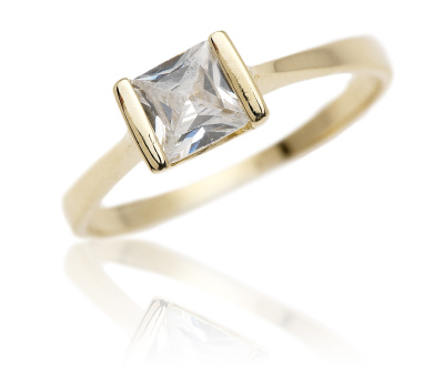 Zlatý prsten, žluté zlato se zirkonem - VR97