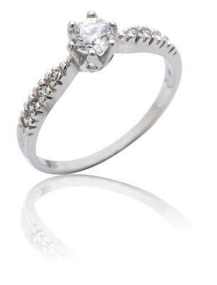 Stříbrný prsten se zirkony bílé barvy-VR 99
