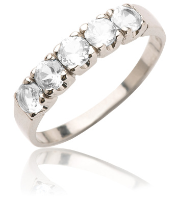 Stříbrný prsten se zirkony-VR 105