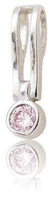 Stříbrný přívěšek s růžovým zirkonem-VP106
