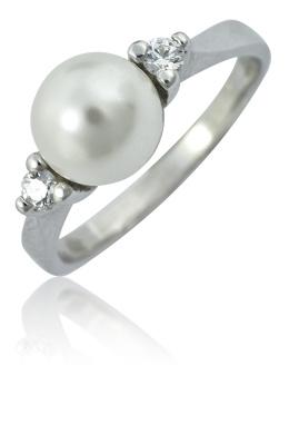 Stříbrný prsten s perlou swarovski a zirkony-VR 141