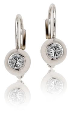 Stříbrné náušnice se zirkony bílé barvy-VE 147