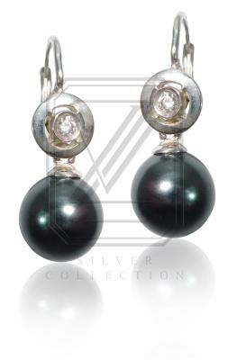 Stříbrné náušnice s perlami a zirkony - VE231
