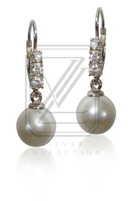Stříbrné náušnice s perlami a zirkony - VE232