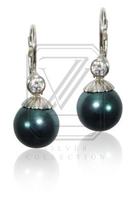 Stříbrné náušnice s perlami a zirkony - VE235