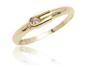 VR283 - Decentní zlatý prsten se zirkonem
