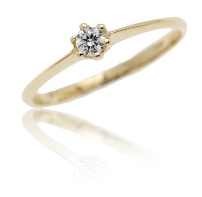 Zlatý prsten, žluté zlato soliter se zirkonem - VR324