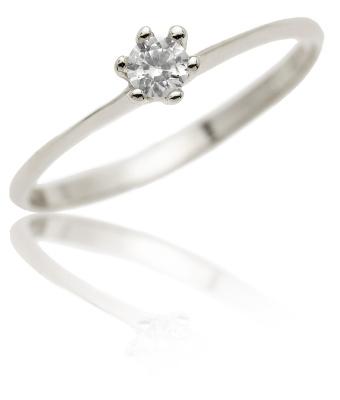 Zlatý prsten, bílé zlato, soliter se zirkonem - VR324