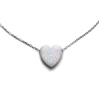 e2f31fedd Náhrdelník - srdce, bílý syntetický opál, stříbrný řetízek anker ...