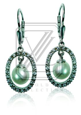 Zlaté náušnice, bílé zlato s perlami a zirkony - VE207