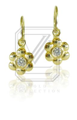 Dětské náušnice zlaté, žluté zlato se zirkony - VE 213
