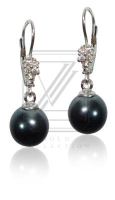 Zlaté náušnice, bílé zlato s perlami a zirkony - VE229