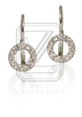 Zlaté náušnice, bílé zlato se zirkony - VE236