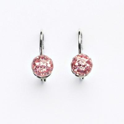 Stříbrné náušnice na klapku, kuličky s krystaly Light rose 6 mm, NK 1183