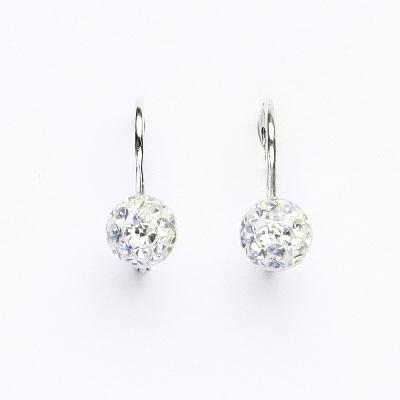 Stříbrné náušnice na klapku, kuličky s krystaly Crystal 6 mm, NK 1183