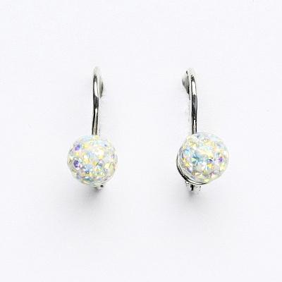 Stříbrné náušnice na klapku, kuličky s krystaly AB crystal 6 mm, NK 1183