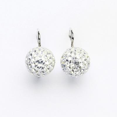 Stříbrné náušnice na klapku, kuličky s krystaly Crystal 10 mm, NK 1298