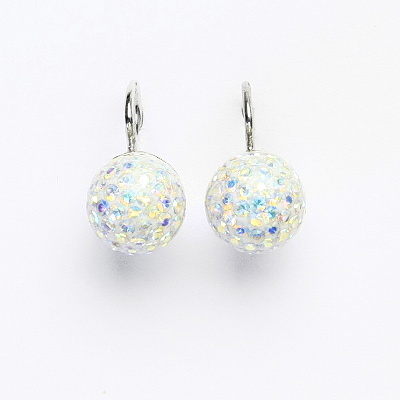 Stříbrné náušnice na klapku, kuličky s krystaly AB crystal 10 mm, NK 1298