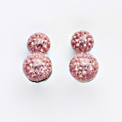 Stříbrné náušnice na šroubek, kuličky s krystaly Light rose 8+10 mm, NŠ1356/1513