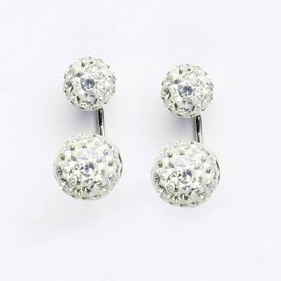 Stříbrné náušnice na šroubek, kuličky s krystaly Crystal 8+10 mm, NŠ1356/1513