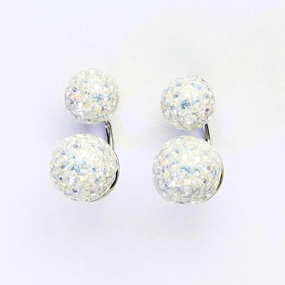 Stříbrné náušnice na šroubek, kuličky s krystaly AB crystal 8+10 mm, NŠ1356/1513