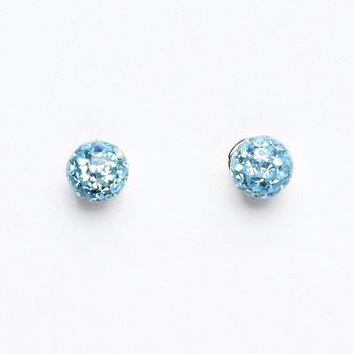 Stříbrné náušnice na šroubek, kuličky s krystaly Akvamarín 6 mm, NŠ 1183