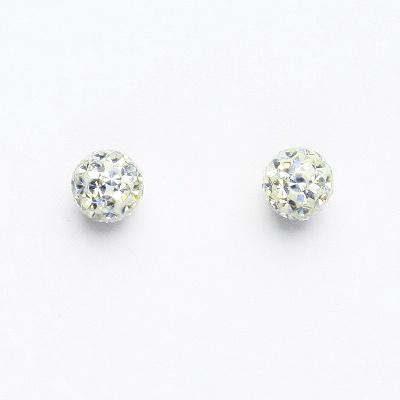 Stříbrné náušnice na šroubek, kuličky s krystaly Crystal 6 mm, NŠ 1183