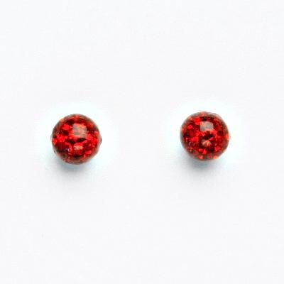 Stříbrné náušnice na šroubek, kuličky s krystaly Siam 6 mm, NŠ 1183