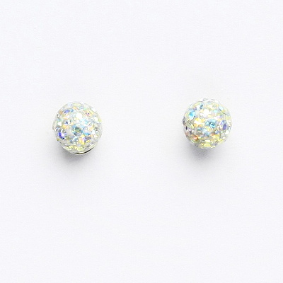 Stříbrné náušnice na šroubek, kuličky s krystaly AB crystal 6 mm, NŠ 1183