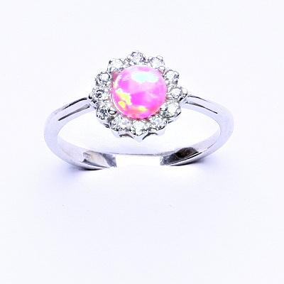 Stříbrný prsten, růžový syntetický opál, čiré zirkony, T 1495