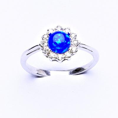 Stříbrný prsten, tmavě modrý syntetický opál, čiré zirkony, T 1495