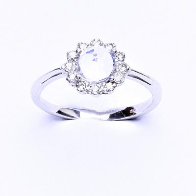 Stříbrný prsten, přírodní křišťál, čiré zirkony, T 1495