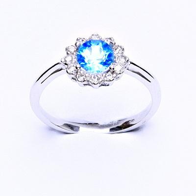 Stříbrný prsten, přírodní topaz swiss, čiré zirkony, T 1495