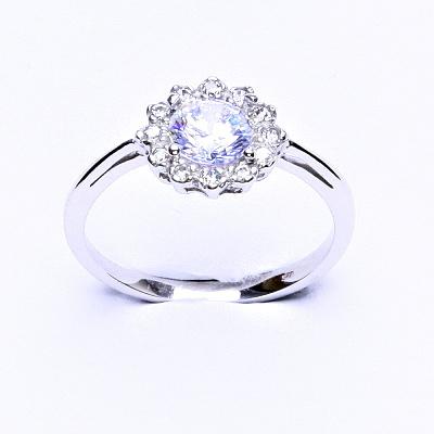 Stříbrný prsten, čiré zirkony, T 1495