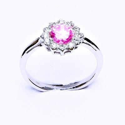 Stříbrný prsten, růžový zirkon, čiré zirkony, T 1495