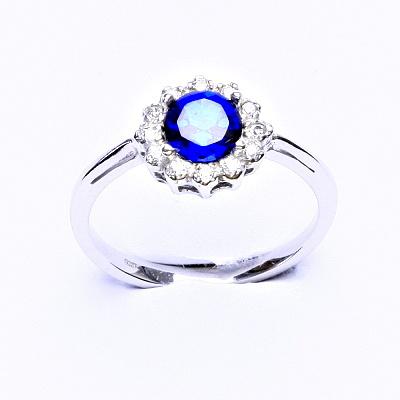 Stříbrný prsten, zirkon spinel, čiré zirkony, T 1495
