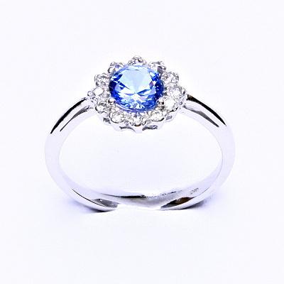 Stříbrný prsten, zirkon akvamarin, čiré zirkony, T 1495