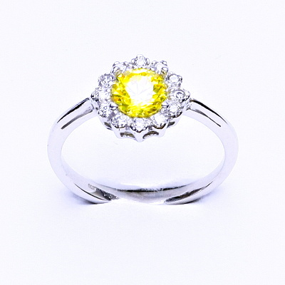 Stříbrný prsten, žlutý zirkon, čiré zirkony, T 1495