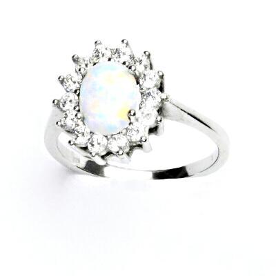 Zlatý prsten, bílé zlato,Kate, syntetický bílý opál,čiré zirkony, T 1507