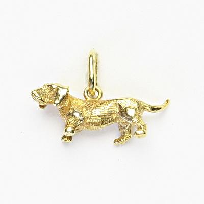 Zlatý přívěšek, žluté zlato, figurka jezevčík, P 336